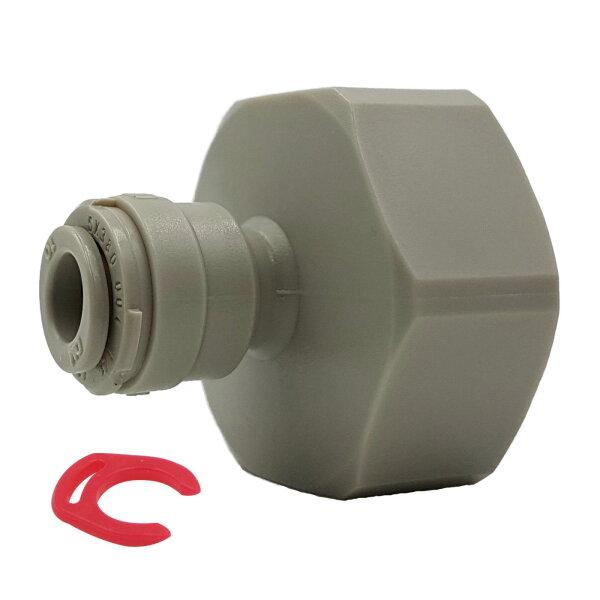 """Adapter 3/4"""" Hahnanschluss auf 1/4"""" (6mm) Wasserschlauch Steckanschluss Schnellanschluss Kühlschrank"""